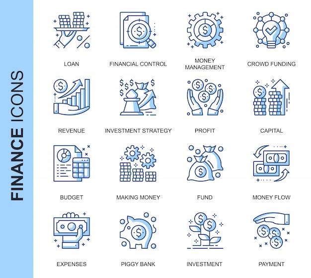Conjunto de ícones relacionados de finanças de linha fina