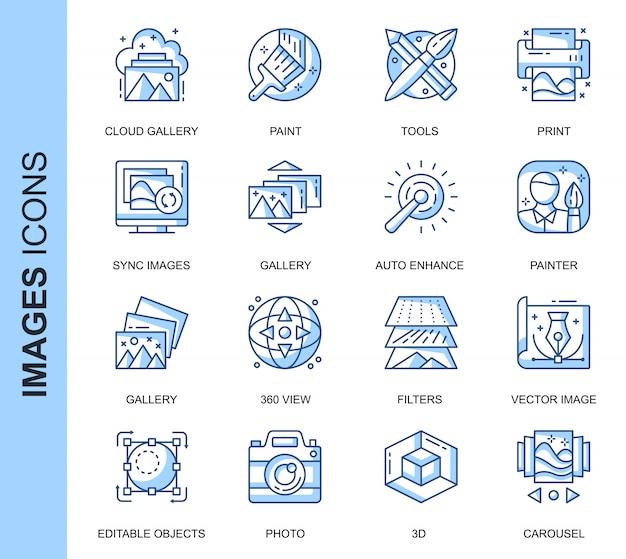 Conjunto de ícones relacionados de imagens de linha fina