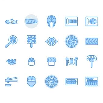 Conjunto de ícones relacionados de salmão