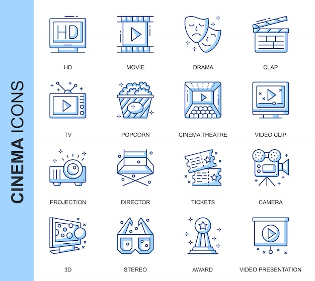 Conjunto de ícones relacionados do cinema de linha fina