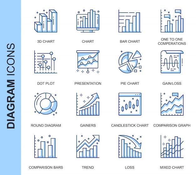 Conjunto de ícones relacionados do diagrama de linha fina