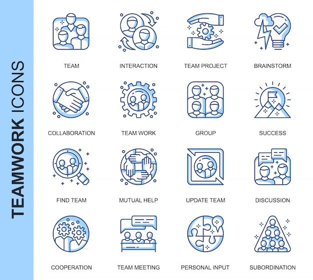 Conjunto de ícones relacionados do trabalho em equipe de linha fina