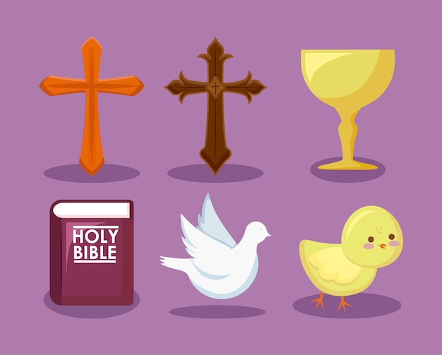 Conjunto de ícones religiosos católicos