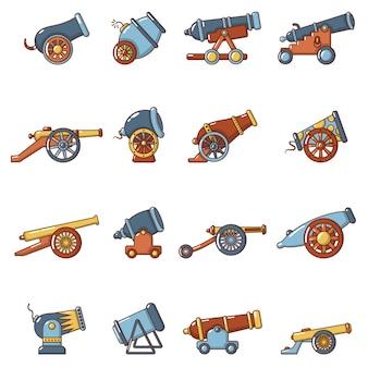 Conjunto de ícones retrô de canhão