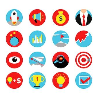 Conjunto de ícones retrô de conceito de inicialização de negócios
