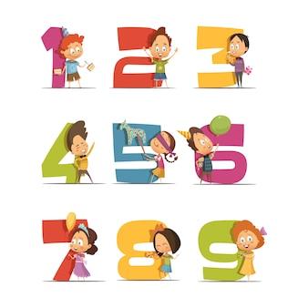 Conjunto de ícones retrô de festa de crianças com dígitos de um a nove
