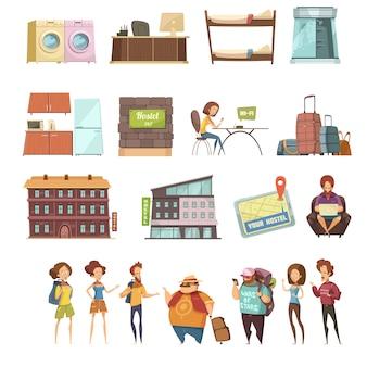 Conjunto de ícones retrô isolado de hostel em estilo cartoon