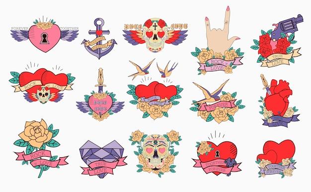 Conjunto de ícones românticos com estilo de tatuagem da velha escola