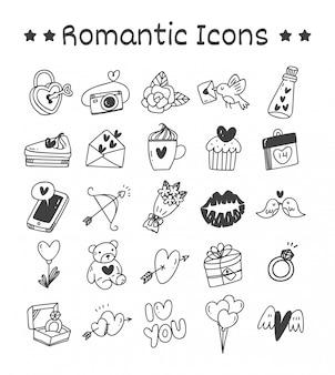 Conjunto de ícones românticos no estilo doodle