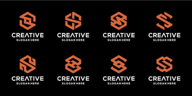 Conjunto de ícones s iniciais abstratos para negócios de luxo e elegância