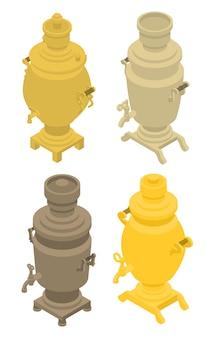 Conjunto de ícones samovar, estilo isométrico