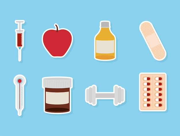 Conjunto de ícones saudáveis em um projeto de ilustração vetorial de fundo azul
