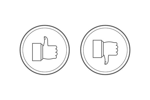 Conjunto de ícones semelhantes e antipatizados. thumbs up e thumbs down