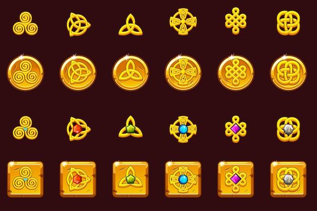 Conjunto de ícones símbolos celtas com pedras preciosas. moedas de ouro e praça com pedras preciosas. desenhos animados conjunto de ícones celtas.