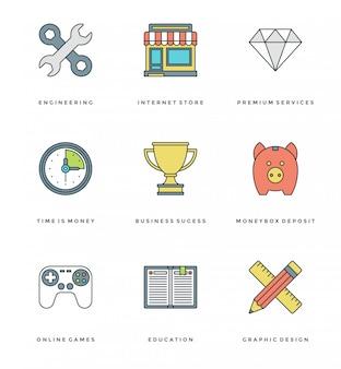 Conjunto de ícones simples de linha plana. objetos essenciais de vetor de traçado