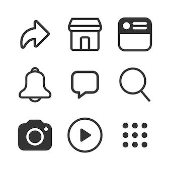 Conjunto de ícones simples mídia social