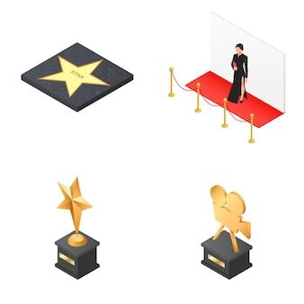 Conjunto de ícones sobre o tema do cinema.
