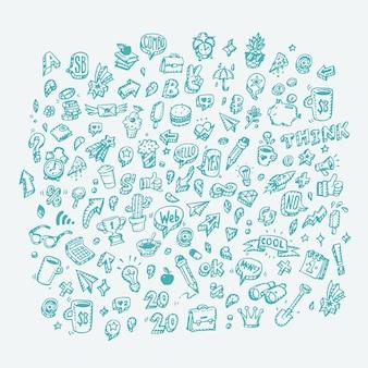 Conjunto de ícones sobre o tema negócios e finanças. ícones da web em estilo doodle.