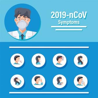 Conjunto de ícones sobre os sintomas do vírus corona