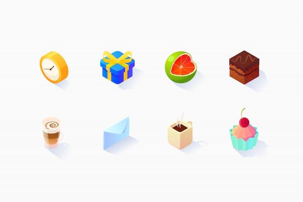 Conjunto de ícones sociais isométricos