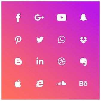 Conjunto de ícones sociais