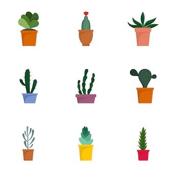 Conjunto de ícones suculentos. plano conjunto de 9 ícones de vetor suculentas