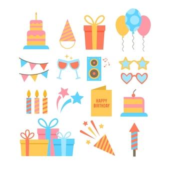 Conjunto de ícones temáticos de festa de mão desenhada.