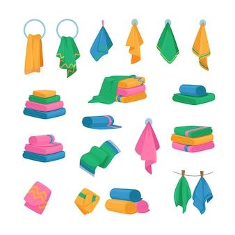 Conjunto de ícones, toalhas penduradas no gancho