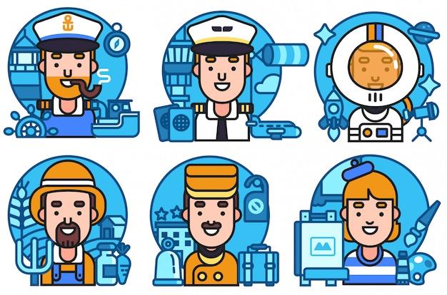 Conjunto de ícones trabalhadores profissão