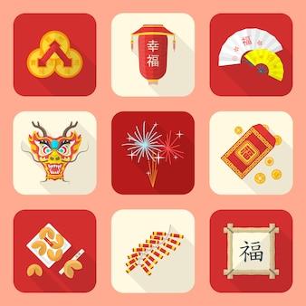 Conjunto de ícones tradicionais ano novo chinês