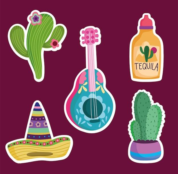Conjunto de ícones tradicionais da cultura mexicana, chapéu de cacto e ilustração de tequila