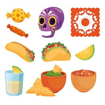 Conjunto de ícones tradicionais de cinco de maio