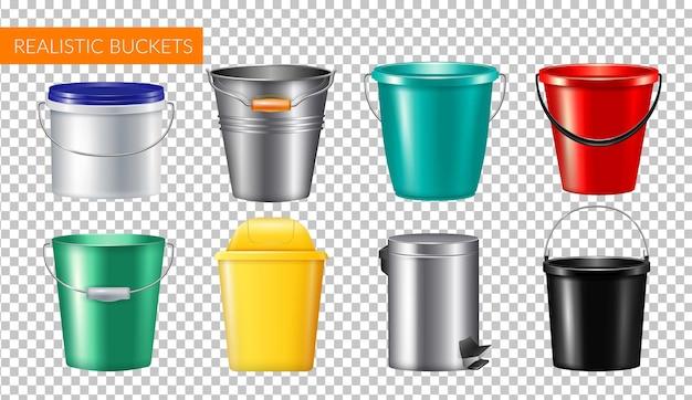 Conjunto de ícones transparentes de baldes realistas