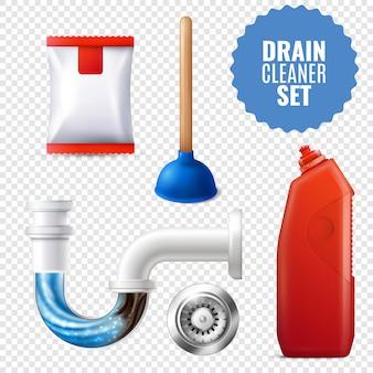 Conjunto de ícones transparentes de limpador de dreno