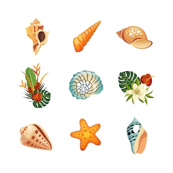 Conjunto de ícones tropicais realistas