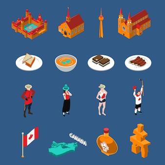 Conjunto de ícones turísticos do canadá