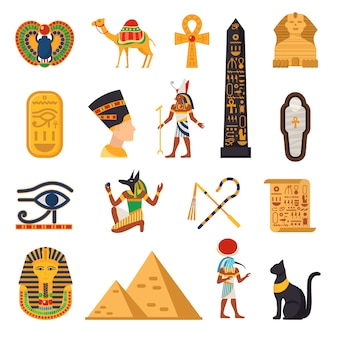 Conjunto de ícones turísticos do egito