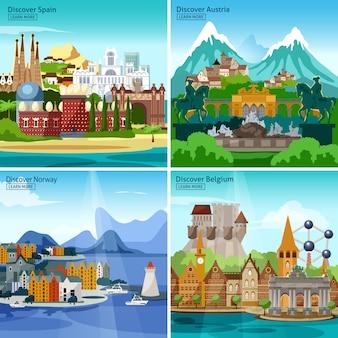 Conjunto de ícones turísticos europeus