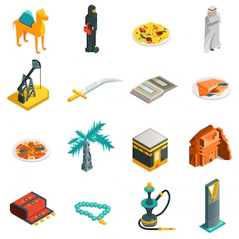 Conjunto de ícones turísticos isométrica da arábia saudita