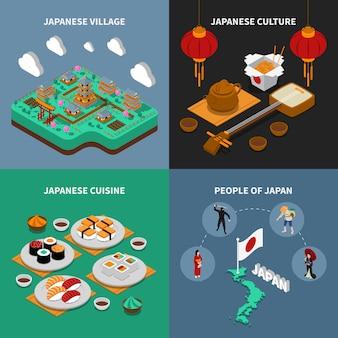 Conjunto de ícones turísticos japão isométrica 2 x 2