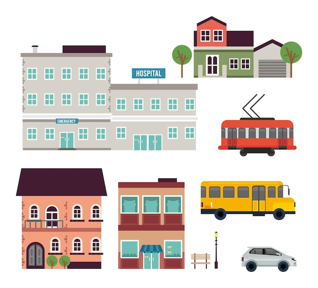 Conjunto de ícones urbanos da megalópole da vida urbana
