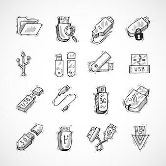 Conjunto de ícones usb
