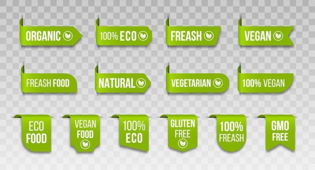 Conjunto de ícones veganos logotipos e emblemas de produto natural