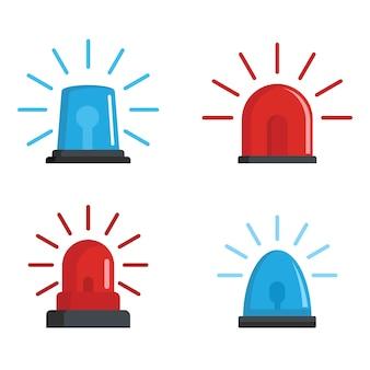 Conjunto de ícones vermelho e azul de sirene de pisca-pisca