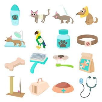 Conjunto de ícones veterinários em vetor isolado de estilo dos desenhos animados