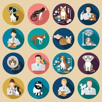 Conjunto de ícones veterinários.
