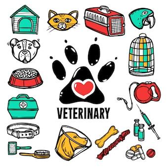Conjunto de ícones veterinários