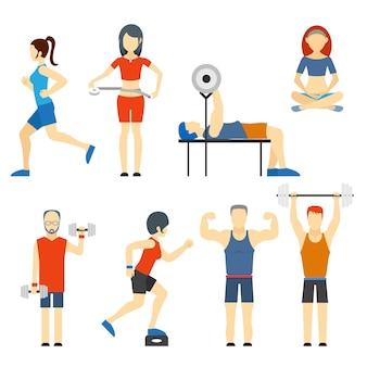 Conjunto de ícones vetoriais coloridos de pessoas se exercitando na academia e ícones de fitness com musculação para levantamento de peso, corrida, ioga e medição de perda de peso