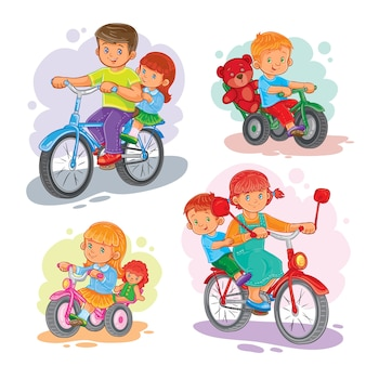 Conjunto de ícones vetoriais crianças pequenas em bicicletas