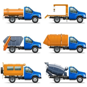 Conjunto de ícones vetoriais de caminhão 5 isolado no fundo branco Vetor Premium